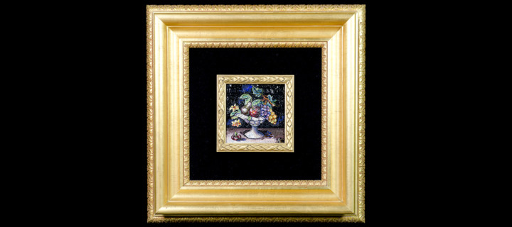 Mosaic : Vaso con frutta 10×10